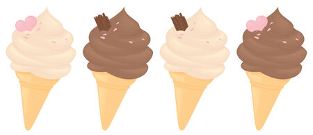 Chocolate and Vanilla whipped ice cream in cones. Vector