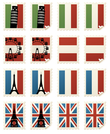 Individually grouped European stamps with and without landmarks and curled corners. Vector