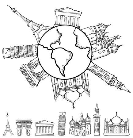 Einfache Darstellungen von einigen berühmten Wahrzeichen, Hand in Software mit Pinselstrich und Bleistiftstrich gezogen.