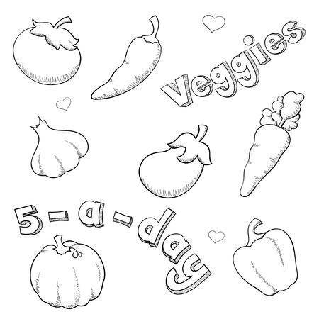 sketched icons: Iconos Veggie en estilo scribbly incompleta. Vectores