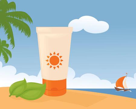 sun lotion: Protector solar en una playa tropical