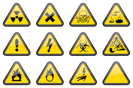 hazardous: 11 individually grouped glossy hazard warning signs, with one blank sign for your additions.