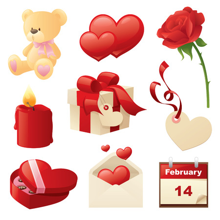 written date: Valentines Day Icons.