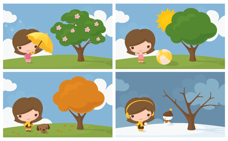 Little girl in the four seasons.