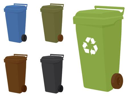 recycle bin: Contenedores con ruedas en 5 tonos diferentes.