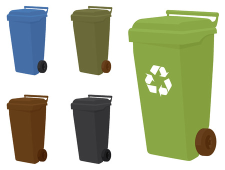 recycle bin: Wheelie bins in 5 different shades.