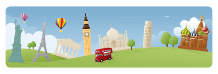 representations: Simple representations of various world landmarks on grassy banner scene.
