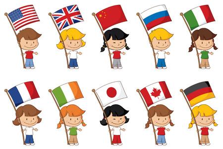 Kleine kinderen houden van een aantal bekende vlaggen van de wereld.
