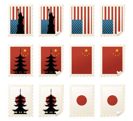 traditionally chinese: Individually grouped US, Japanese and Chinese stamps with and without landmarks and curled corners. Illustration