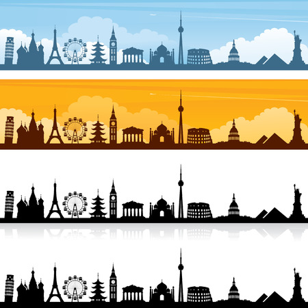 World landmark silhouettes and banners. Easy to change colour of landmarks.