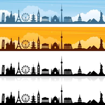 Wereld mijlpaal silhouetten en banners. Gemakkelijk om kleur van oriëntatiepunten veranderen.