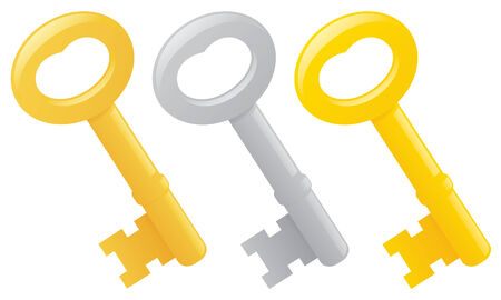 old key: Old fashioned brass and steel keys. Illustration