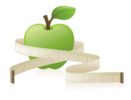 Apple with a tape measure. 向量圖像