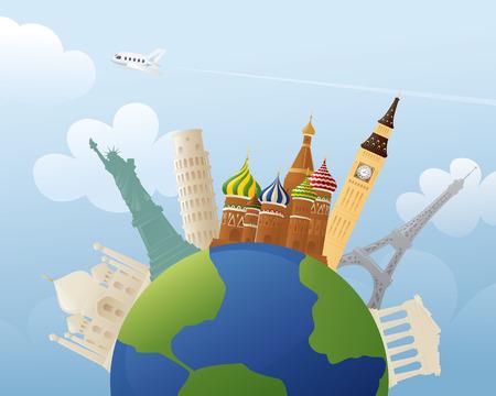 representations: Simple representations of various world landmarks around the world.