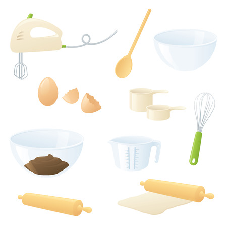 cracked egg: Individually grouped essential baking icons.
