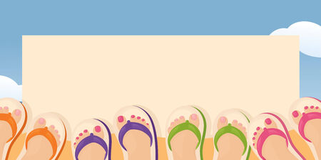 Feet in flip flops with beachy message.