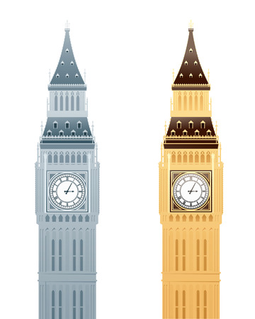 big ben: Simply drawn Big Ben in grayscale and colour. Illustration
