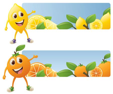 limon caricatura: Personajes de dibujos animados de naranja y limón con pancartas jugosas. Vectores