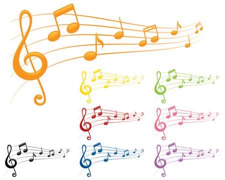 8 compositions musicales regroupées séparément couleurs vives Vecteurs