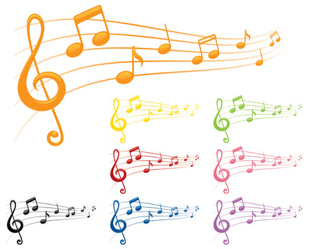 8 separately grouped brightly coloured musical compositions