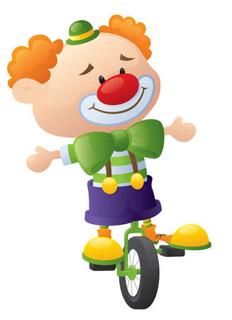 clown nose: Clown on a unicycle.