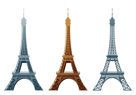 Eiffel tower in three styles.