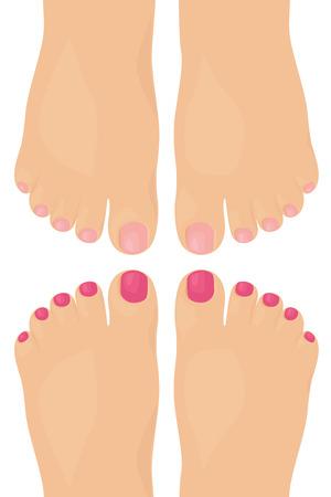 Bare feet with nail varnish. Illustration