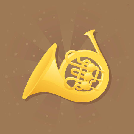 french horn: Shiny french horn on brown background.