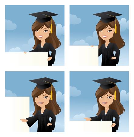 birrete de graduacion: Graduado joven sostiene el mensaje de su opción.