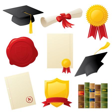 Graduazione e le icone di istruzione relativi. Archivio Fotografico - 33821899