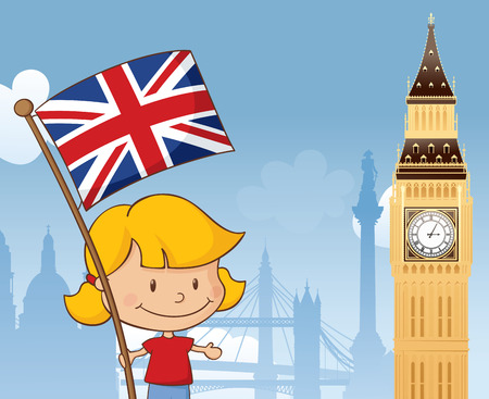 Little girl with Union Jack and Big Ben with other London landmarks in background. Separately grouped and layered.
