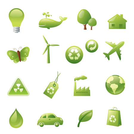 endangered species: Individually grouped green environmental icons.