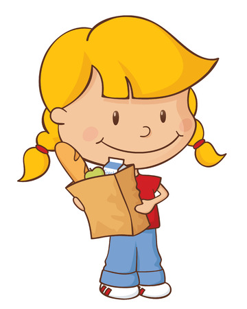 plaits: Little girl with a bag full of groceries. Illustration
