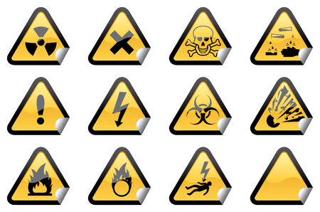 additions: 11 individually grouped glossy hazard warning stickers, with one blank sticker for your additions. Illustration
