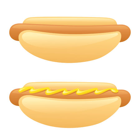 mustard: Hot dogs with and without mustard. Illustration