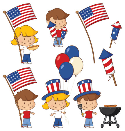 july 4th: Little kids excited and ready for July 4th.