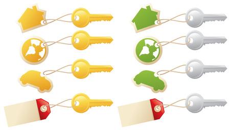keyring: House keys, car keys, keys and blank tags, keys to the world