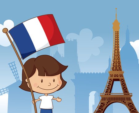 Little French girl with flag by the Eiffel tower with other Paris landmarks in the background.
