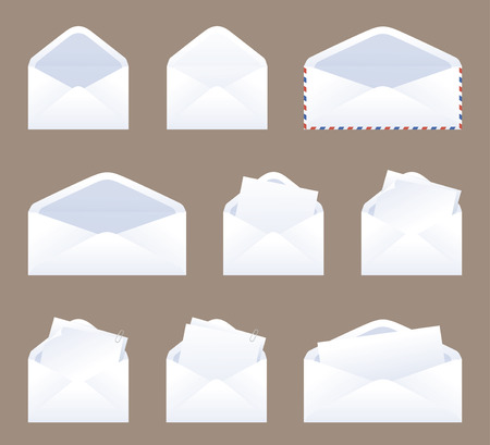 envelope: An assortment of envelopes and contents.