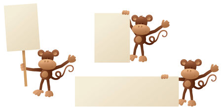 primate: Monkey holding up message boards.
