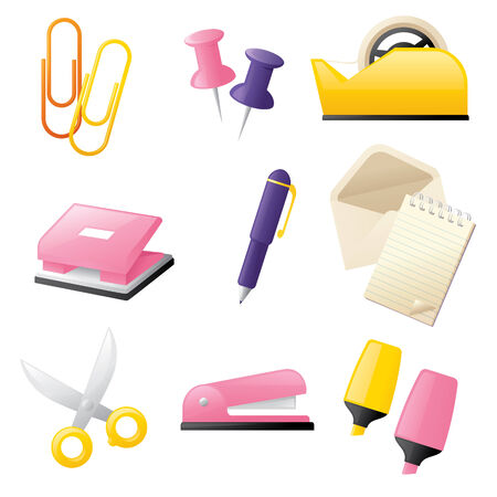 note pad and pen: Cheerful little office stationery icons.