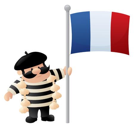 estereotipo: Hombre franc�s Estereotipo con la bandera. Vectores