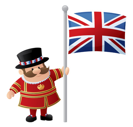 guardsman: Tower of London Guard or Beefeater holds Union Jack.