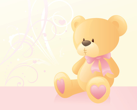 pink bow: Teddybear with a pink bow.