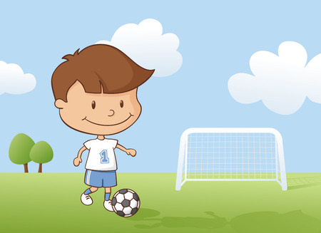 football pitch: Little boy playing a soccer game.