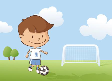 jugando futbol: Niño jugando un partido de fútbol.