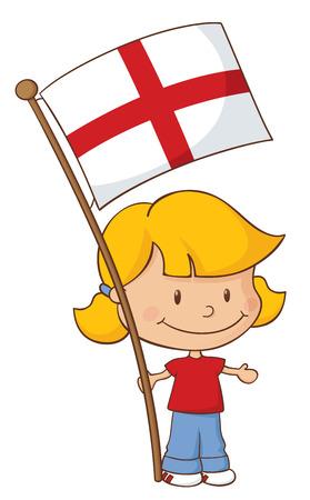 drapeau anglais: Petite fille avec le drapeau anglais. Illustration