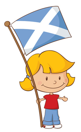 scottish flag: Bambina in possesso di una bandiera scozzese.