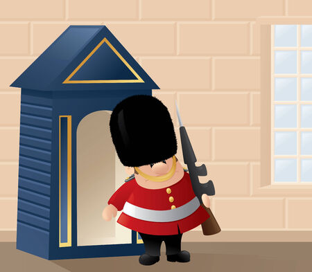 guardsman: Queens Guard and his guardhouse.