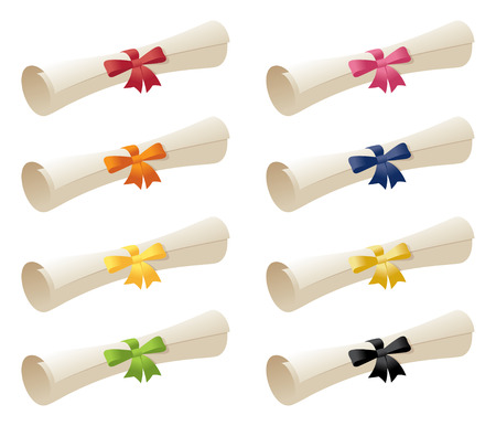 paper scroll: Scrollsdiplomas with different coloured ribbons.